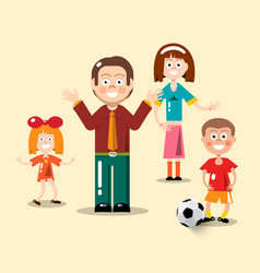 Happy family flat design man woman boy with vector
