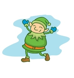 Happy green elf cartoon chrisrmas theme vector