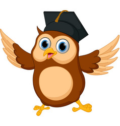 Happy owl cartoon wearing graduation cap vector