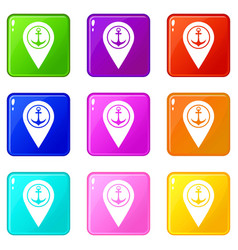 Map pointer with symbol anchor and sea port 9 set vector