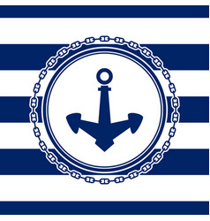 marine emblem with anchor vector image vector image