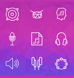 Music outlines set collection of headphones vector