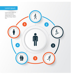 People icons set collection of member jogging vector