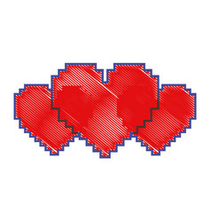 pixel set of heart love passion vector image
