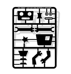 Robot parts cut out and assemble template for vector