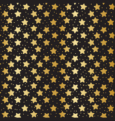seamless pattern with golden stars on black vector image vector image