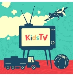 Set of elements kid television vector