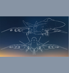 Set of military jet fighter silhouettes image of vector