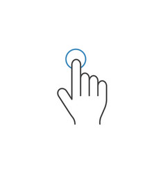 Single tap line icon touch and hand gestures vector