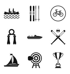 Sport section icons set simple style vector