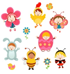 Spring Kids vector image vector image