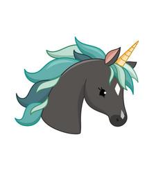 unicorn icon isolated on white head vector image