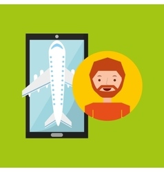 Hand holds man beard mobile application travel vector
