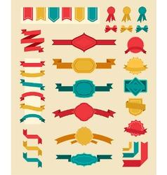 Big retro ribbons and labels set vector image