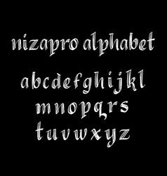 Nizapro alphabet typography vector