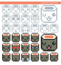 Sushi pixel emoticons vector