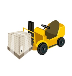 A forklift truck loading a shipping box vector