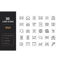 30 mail line icons vector image
