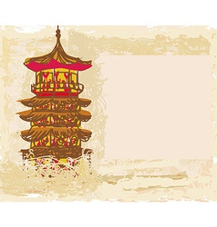 Old paper with chinese old building vector