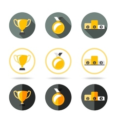 Winners icons set - cup medal and pedestal vector
