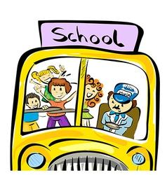 doodle school bus with kids vector image