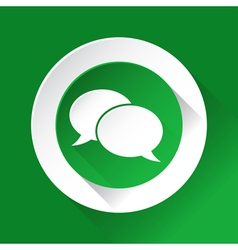 Green circle shiny icon - speech bubbles vector