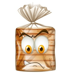 Packet of bread with angry face vector