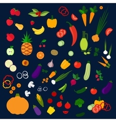 Fresh healthy farm fruits and vegetables icons vector