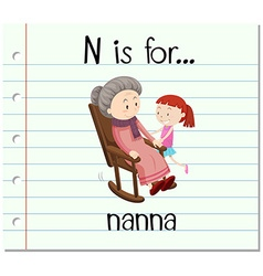 Flashcard letter n is for nanna vector