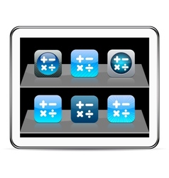 Calculate blue app icons vector