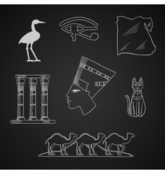 Ancient Egypt travel and art icons vector image vector image