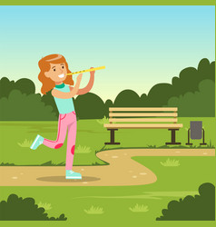 beautiful smiling girl playing flute while walking vector image