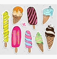 big set of cute cartoon hand draw ice creams vector image