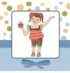 birthday greeting card with girl and big cupcake vector image