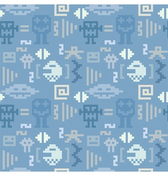 Blue denim pattern with pixel monsters vector image