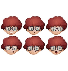 Boy with glasses having different emotions vector image