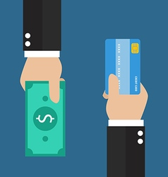 Businessman hand with credit card and cash back vector