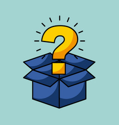 Cardboard box with question mark coming out vector