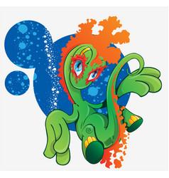 cartoon cute dinosaur scene with dinosaur vector image