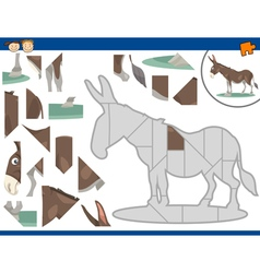Cartoon donkey jigsaw puzzle task vector