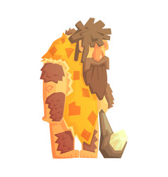 Caveman with a cudgel stone age character vector