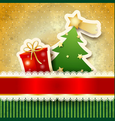 christmas background with paper tree vector image vector image