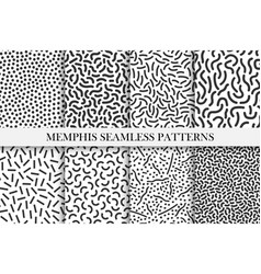 Collection of retro memphis patterns - trendy vector