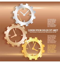 Concept timeline icons clock gears on copper vector