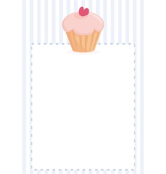 Cupcake on blue strips background card vector image vector image