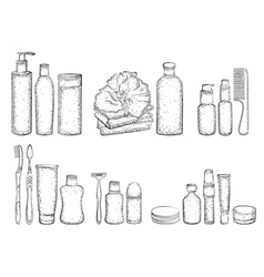 Detailed sketch of elements for bath vector image