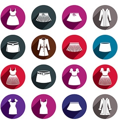 Dresses and skirts icon set vector