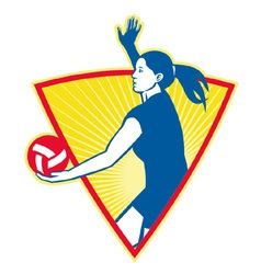 female volleyball player serving ball vector image vector image