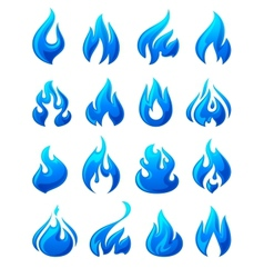 Fire flames set 3d blue icons vector