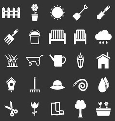 Gardening icons on black background vector image